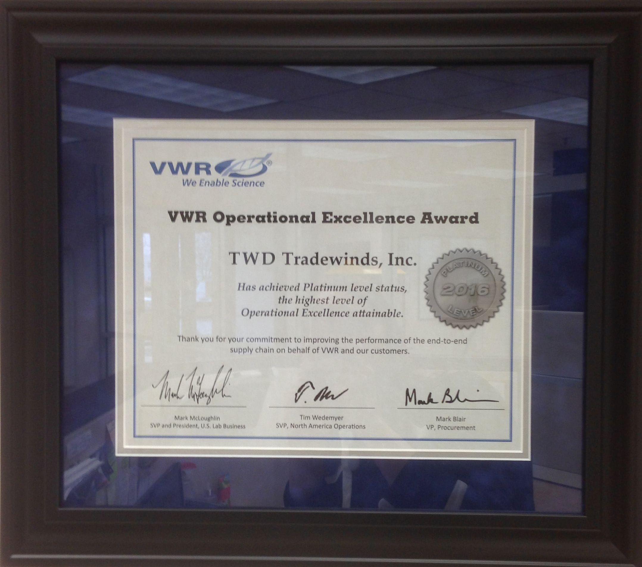 TWD Receives 2016 VWR Platinum Award in Operational Excellence